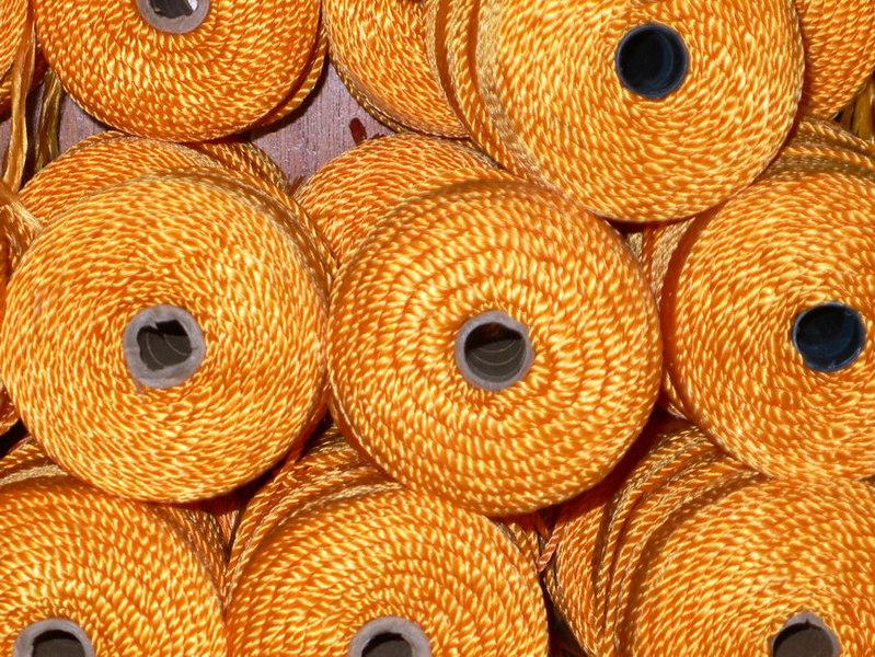 "spools of ""hilo"" for making hammocks, Tixcokob, Yucatan"