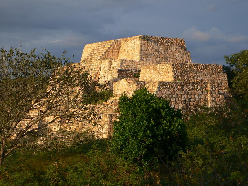 One of the pyramids of Ruinas Oxkintok, Yucatan.  About 1/2 hour before sunset.