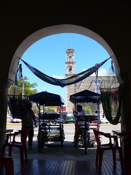 Main square and church, from Las Golondrinas hammock shop, Tixcokob,Yucatan