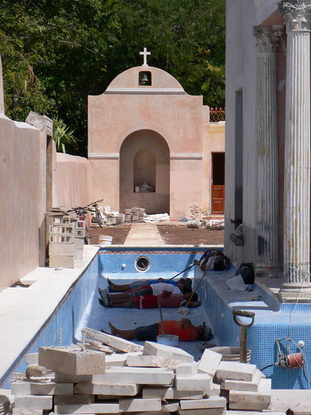 Siesta time in an in an unfinished pool, Merida, Yucatan