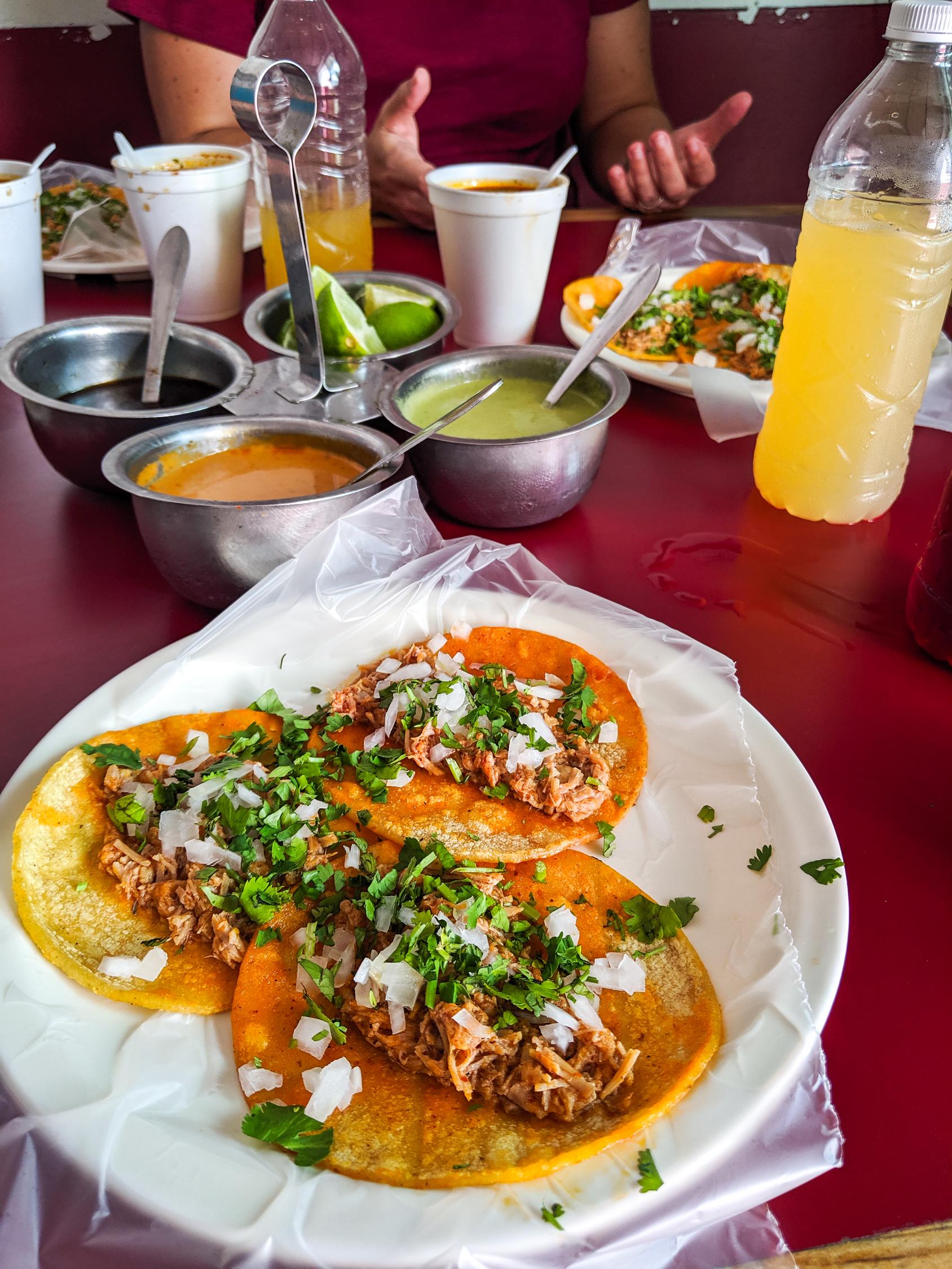 Barbacoa tacos in Merida Mexico on a table.