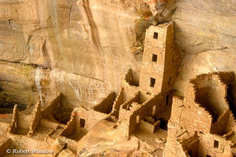 Square Tower, Ancestral Pueblo Dwelling, Mesa Verde National Park, Colorado, Summer, USA, World Cultural Heritage Site
