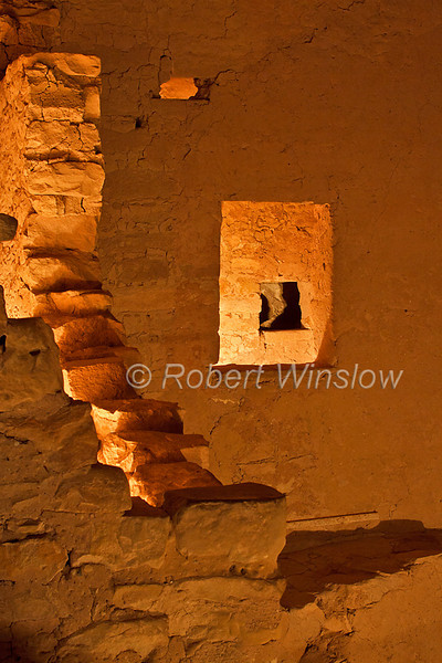 Windows, Night-time illumination, Spruce Tree House, Ancestral Pueblo Dwelling, Mesa Verde National Park, Colorado, USA, World Cultural Heritage Site, Holiday Open House, December 2010