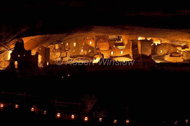 Night-time illumination, Spruce Tree House, Ancestral Pueblo Dwelling, Mesa Verde National Park, Colorado, USA, World Cultural Heritage Site, Holiday Open House, December 2010