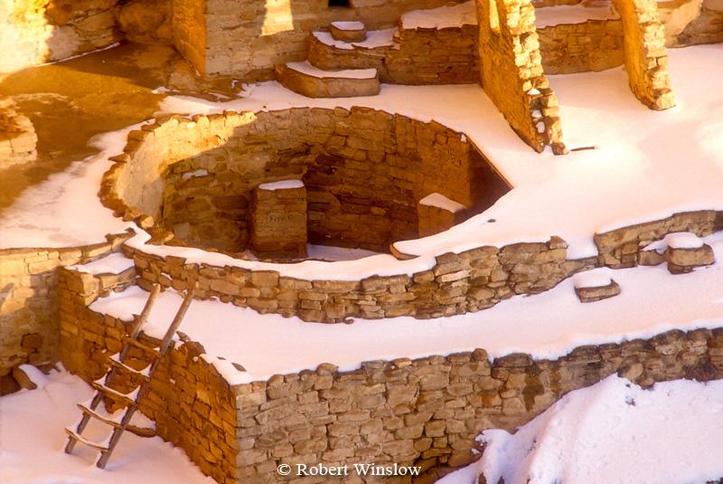 Winter, Kiva, Cliff Palace, Ancestral Pueblo Dwelling, Mesa Verde National Park, Colorado, USA, World Cultural Heritage Site