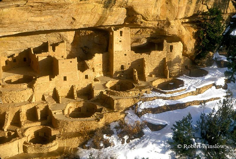 Winter, Cliff Palace, Ancestral Pueblo Dwelling, Mesa Verde National Park, Colorado, USA, World Cultural Heritage Site