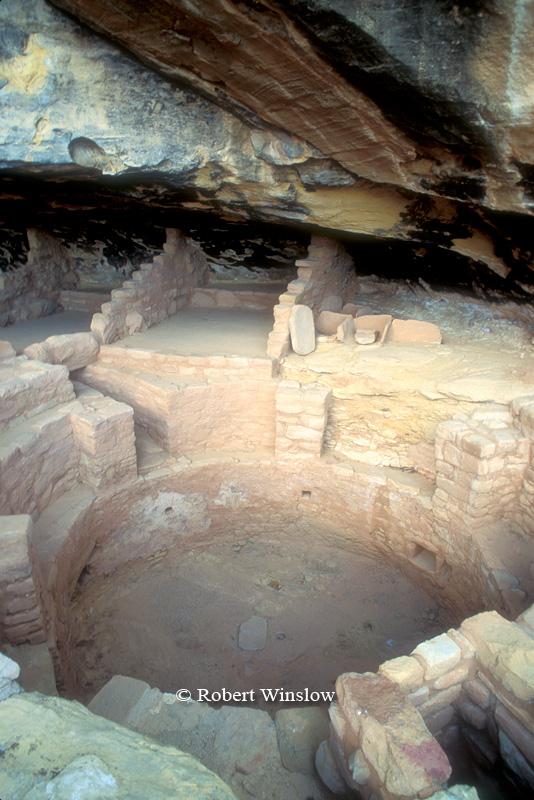 Kiva, Long House, Wetherill Mesa, Ancestral Pueblo Dwelling, Mesa Verde National Park, Colorado, Summer, USA, World Cultural Heritage Site