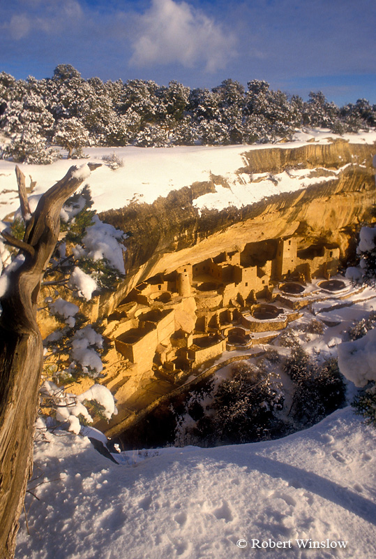 Winter, Cliff Palace, Ancestral Pueblo Dwelling, Mesa Verde National Park, Colorado, USA, World Cultural Heritage Site