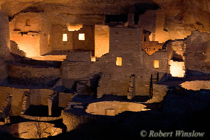 Cliff Palace, Ancestral Pueblo Cliff Dwelling, Illuminated for the second time in 40 years to celebrate the 100th Anniversary of Mesa Verde National Park, Colorado, Holiday Open House and Centennial Celebration, December 9, 2006