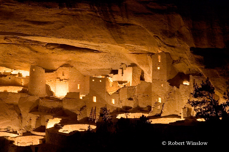 Cliff Palace, Ancestral Pueblo Cliff Dwelling, Illuminated for the first time in 40 years to celebrate the 100th Anniversary of Mesa Verde National Park, Colorado, Holiday Open House and Centennial Kickoff Celebration, December 8, 2005