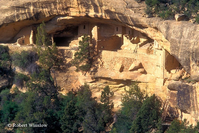 Balcony House as seen from across Soda Canyon, Ancestral Pueblo Dwelling, Mesa Verde National Park, Colorado, USA, World Cultural Heritage Site