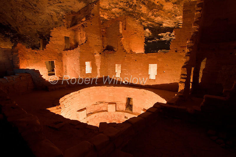 Winter, Night-time illumination, Spruce Tree House, Ancestral Pueblo Dwelling, Mesa Verde National Park, Colorado, USA, World Cultural Heritage Site, Holiday Open House, December 2010