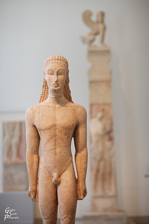 Marble Statue of a Kouros (youth) greek, attic, 590-580 b.c.