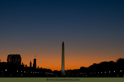 Washington Monument at sunset.