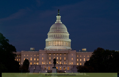 The US Capitol at dusk.