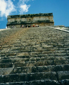Chichen Itza, Mexico - looking up the steps of El Castillo Pyramid
