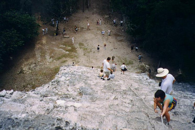 Coba, Mexico - looking down from the top of the Pyramid