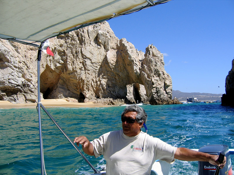 "Boat tour of ""los archos"" at Cabo San Lucas -- our guide/boat operator. Never got his name."