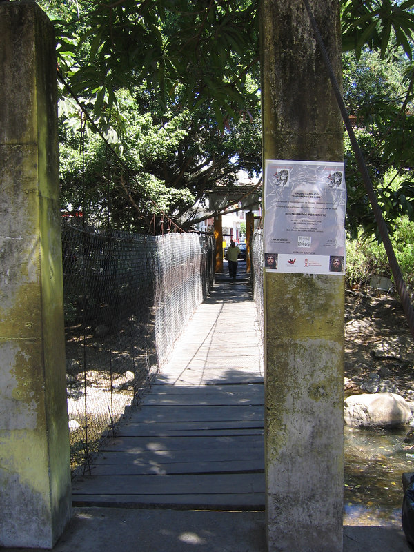 Puerto Vallarta -- the swinging bridge to the island in the middle of the Rio Cuale.