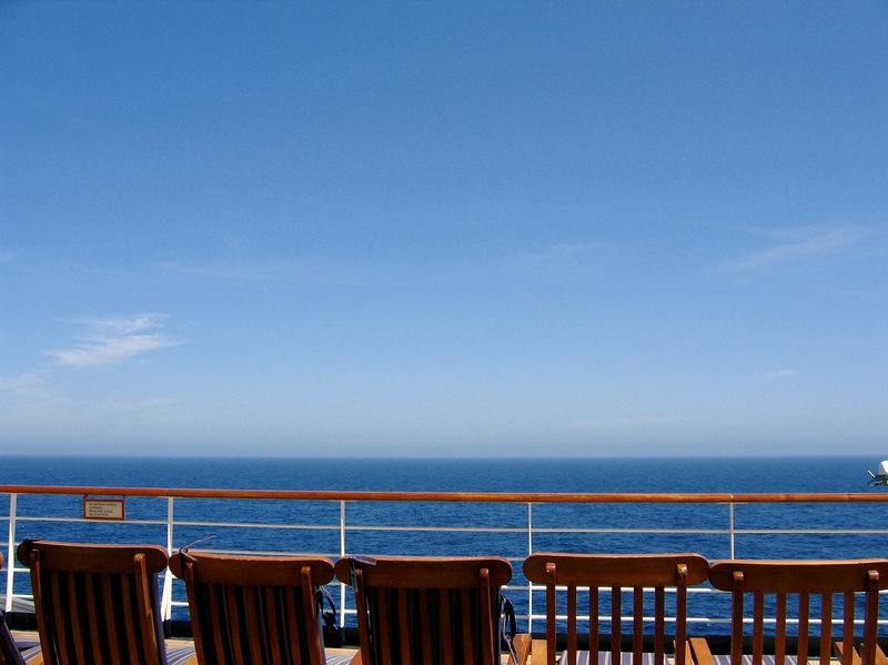 On the observation deck.