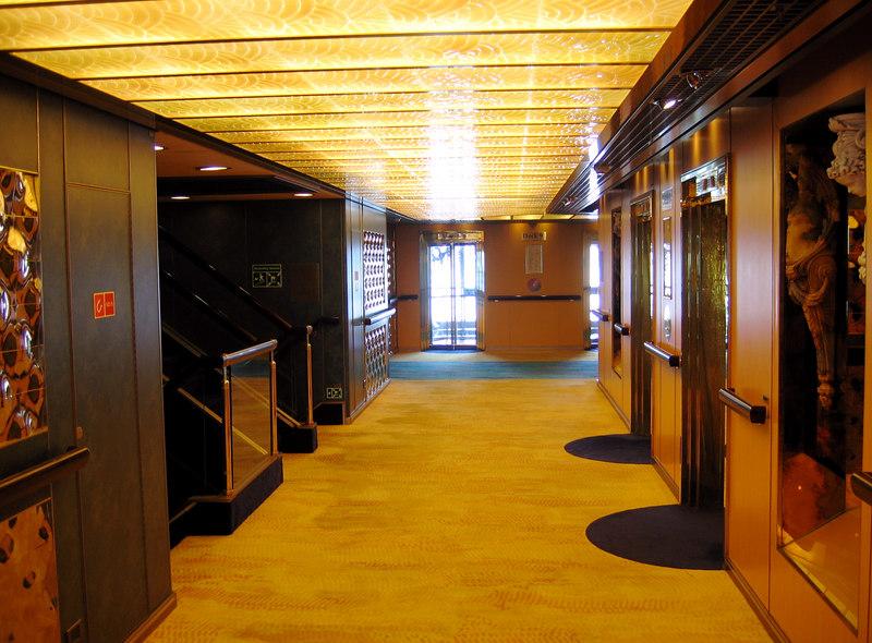 The elevator lobby, deck 9, midship.