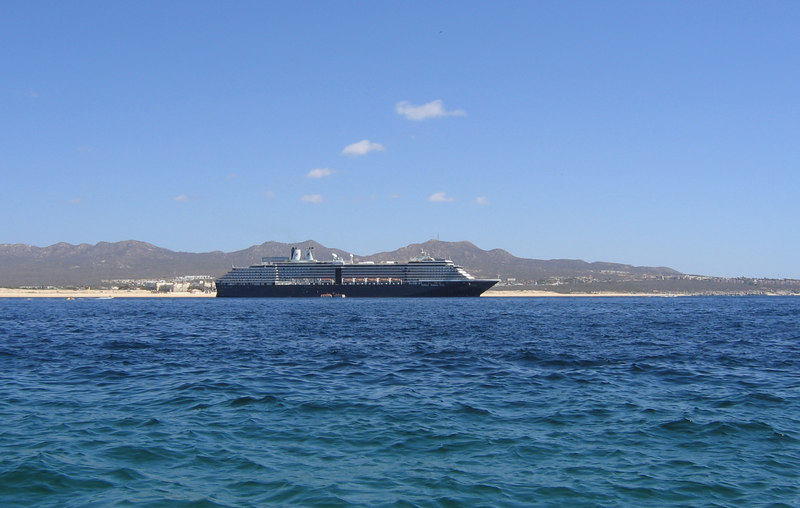 """Boat tour of """"los archos"""" at Cabo San Lucas -- this was our cruise ship, the ms Oosterdam, anchored in the bay at Cabo San Lucas."""