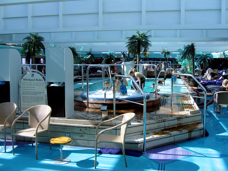 Shots of the ship -- the Lido pool, deck 9.
