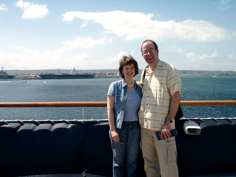 Here we are on the observation deck -- just after lunch but before we left port in San Diego.