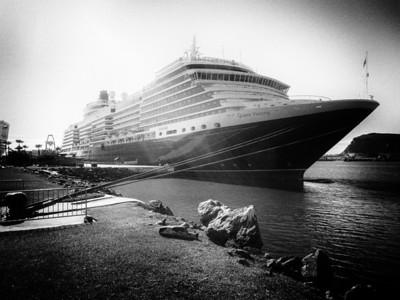 Cunard's Queen Victoria in port.  Vintage effect.