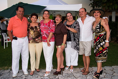 Ancona family photo at the edge of the lake, Cancun, Mexico