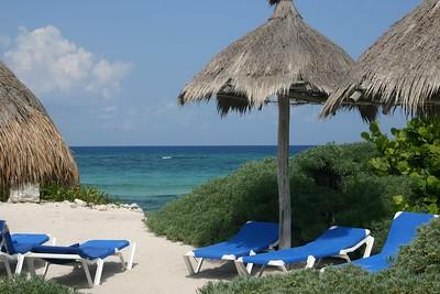 Beach chairs and sea