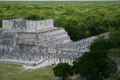 Temple of the Warriors from the pyramid, Chichen Itza