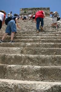 Climbing the pyramid, Chichen Itza
