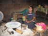 Maria making tortillas in shop in San Juan Chamula. We had a lunch of tortillas, beans, chiles, and cheese--delicious.