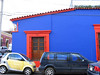 Brightly painted building in Oaxaca