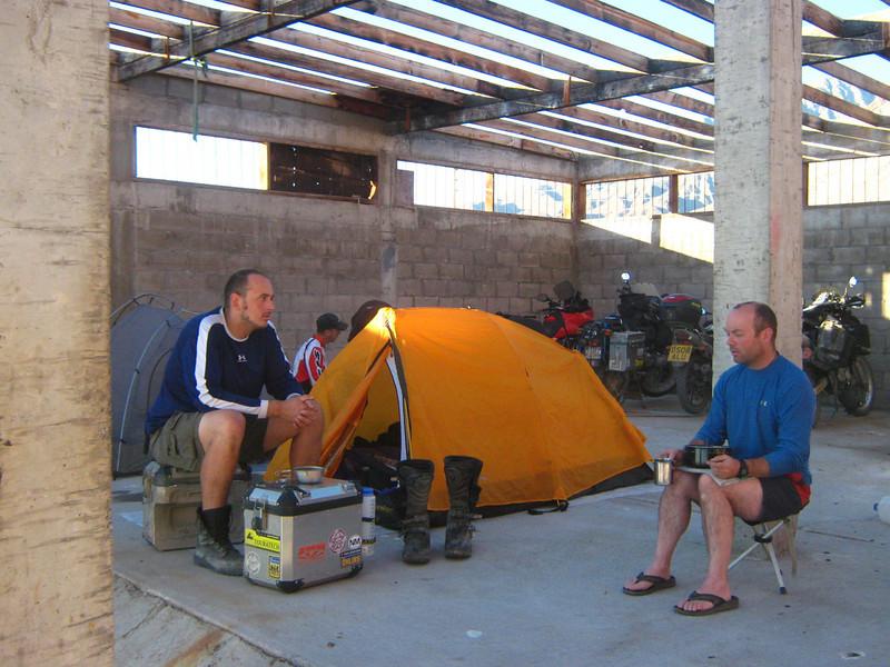 with Pete 'Bush' camping at Bahia de Los Angeles,  Baja California