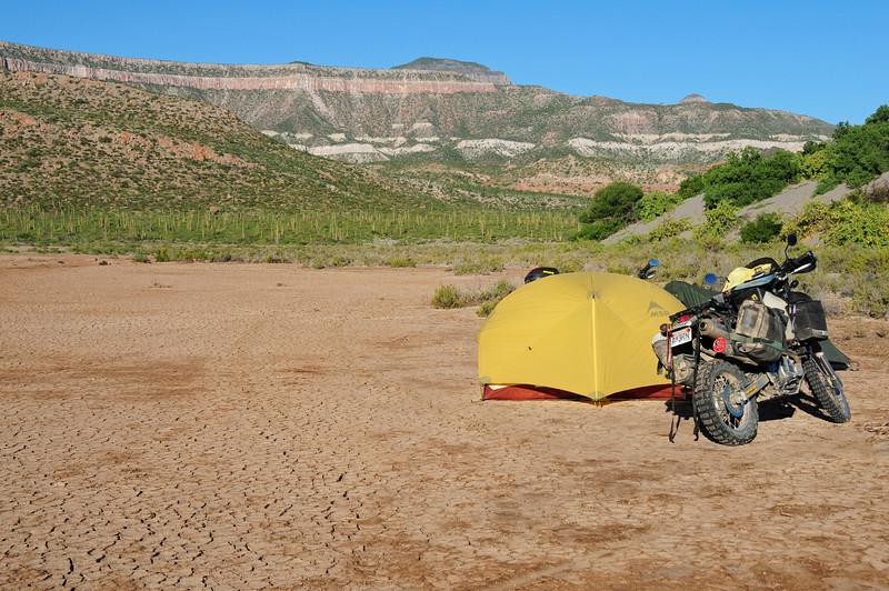 Bush camp on Bahia Coyote,  Baja California