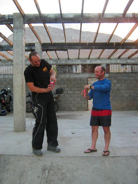 with Pete, 'bush' camping near Bahia de Los Angeles,  Baja California