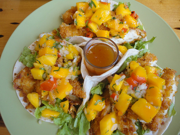 Fish tacos with mango salsa - mmmmmmmmm