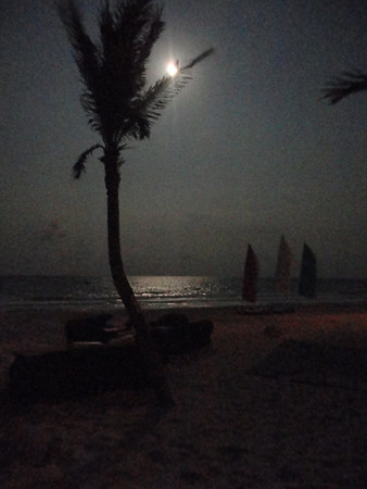 Full moon over beach