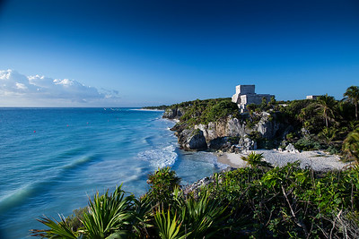 These are the Mayan ruins at Tulum, which are the only Mayan ruins overlooking the coast.