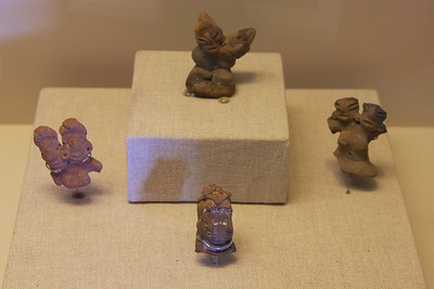 Clay figures. 1200-400 BC. Associated with concept of duality, an important concept in Mesoamerica.