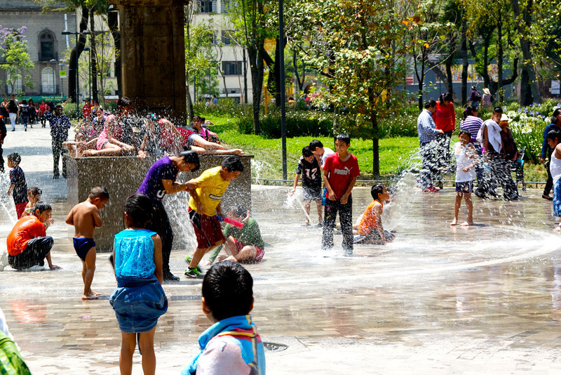 Kids playing in the fountains at Alameda.