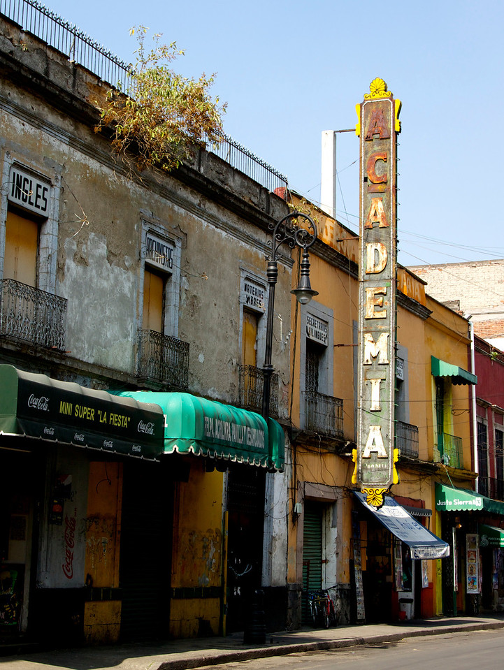 Old sign for La Academia- presumably a theater.