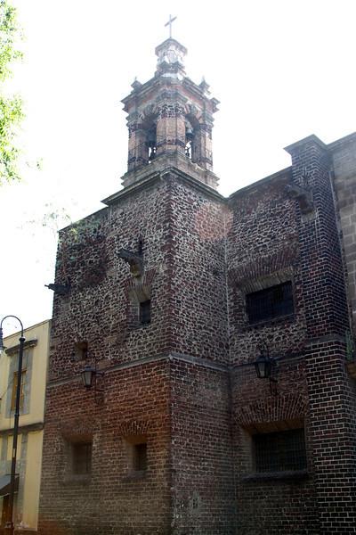 Old brick and thick walls at Santa Teresa. (backlit photo)
