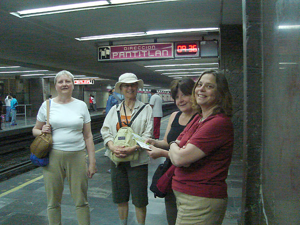 At the Insurgentes metro station, heading to the Saturday market in Plaza San Jacinto, in the San Ángel district.