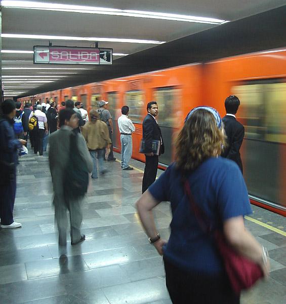 On the metro.