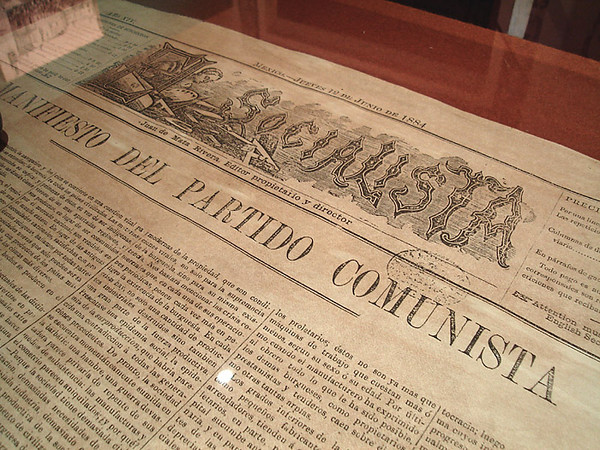 "In the National Museum of Interventions - reproduction of the Communist Manifesto in the June 12, 1884 edition of ""El Socialista"""