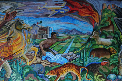 Right-most portion of a mural produced by Rosendo Soto and Jorge Best in 1968 in a building in Mexico City owned by the Pasquel family.