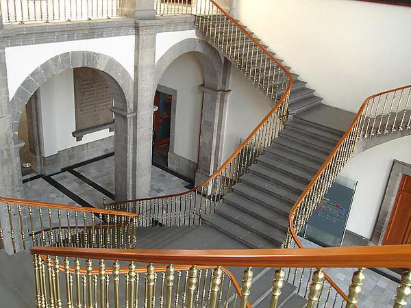 The grand staircase inside Castillo de Chapultepec